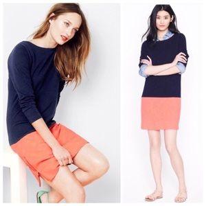Jcrew navy blue /orange long sleeves dress